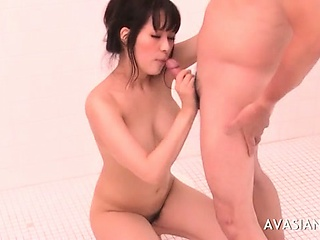 Organism asian gets a mouthful of cum in make an issue of shower