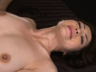 Horny asian wench surounds herself with 2 cock increased by squirts