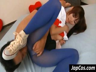 Young Asian gal in blue pantyhose gets rubbed by his fingers and dick