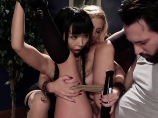 Asian partisan anal banged in bdsm threesome