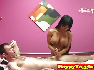 Bigtitted asian masseuse tugs and deepthroats
