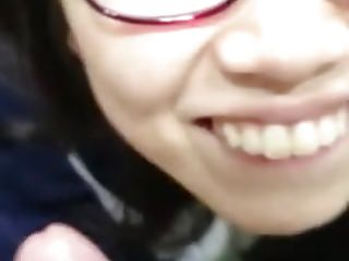 Cute chinese glasses tolerant bj nigh toliet