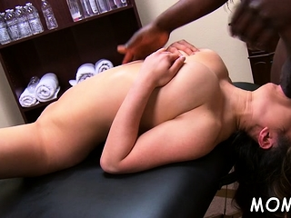 To a great extent built black beggar enjoys ramming milf's shaved pussy