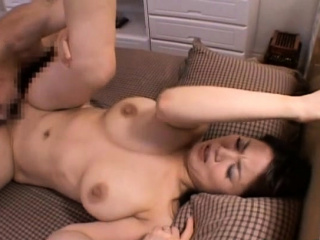 Captivating asian older gets her tits and twat played anent