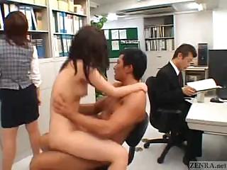 Japanese hang on fucks in get under one's middle of an office