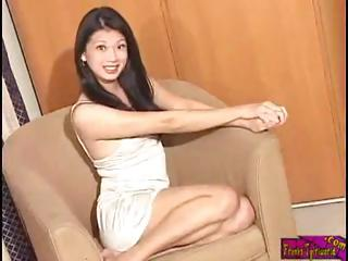 Japanese Ladyboy in make an issue of most splendid penis and cumshot