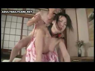 Horny Japanese men licking and toying innocent Asian slits